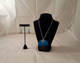 Blue Sea Shell Pendant Jewelry Set - Blue Sea Shell Necklace - Blue Sea Shell -Sand Dollar Jewelry Set -Blue Sea Glass -Blue Sea Shell -Blue