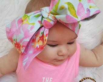 WATERCOLOR FLORAL head wrap, Floral Headwrap, Baby Head Wrap,  Fabric Head Wrap, Newborn Head Wraps, Toddler Headwraps, Turban Headwraps