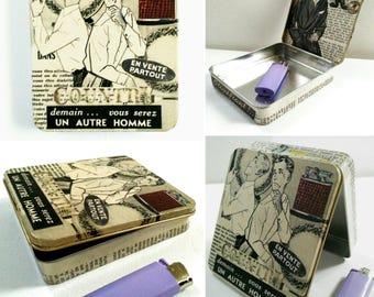 Retro cigarette box, vintage cigarette case, cigarette lighter tobacco, original collages year 50, cigarette holder fifties, cigarette case,