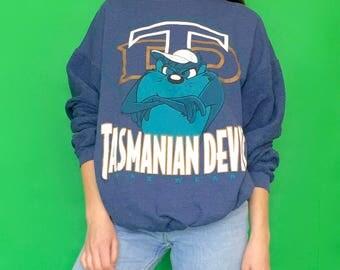 Vintage 90s Blue Looney Tunes Tasmanian Devil Oversized Pull Over Sweatshirt