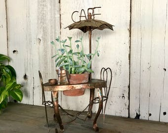 Metal Music Box Cafe Sculpture, Brass Cafe Bistro Musical Plant Holder, Cafe Decor, Bistro Decor, Curtis Jere Inspired Cafe Sculpture, G3