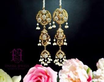 Kashee's Jadau Hyderabadi Earrings,Pakistani Jewelry, Nizami Earrings, Indian Earrings, Jadau Earrings