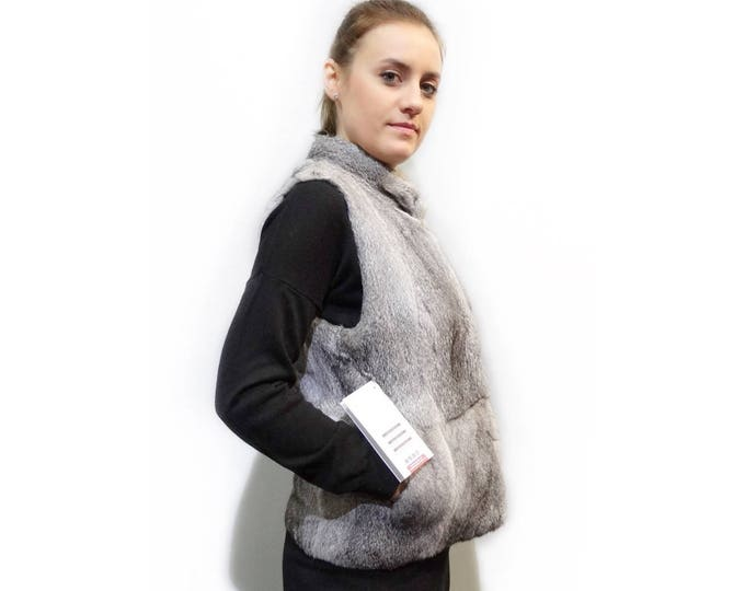 Real Rex Rabbit Fur Vest,Fashion Vest,Grey Fur Vest F292