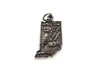 Vintage Sterling Silver Indiana IN State Travel Charm, Indianapolis + Gary + South Bend