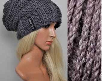 Purple Slouchy beanie, Womens beanies, Knit slouch hat, Slouchy hat woman, Bamboo purple knit Beanie, Purple beanie, Knit hat woman beanie,