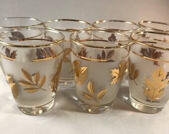 Libbey Glass Golden Foliage Juice Glasses Set of 7