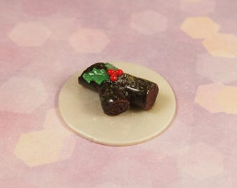 "Handmade Miniature Food for DollHouse 1/6 ""Christmas swiss roll Mistletoe"""