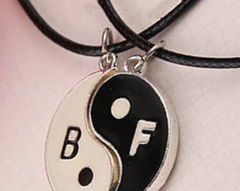 Best Friends jewelry: 2 necklaces with silver tone chain and pendants Yin + Yang white + black BFF / child gift woman man