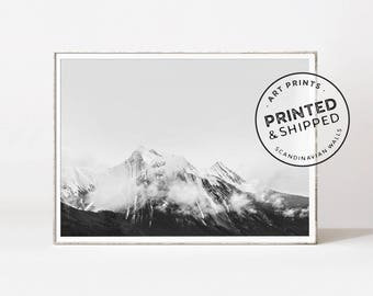 Mountain print, Mountain landscape, black and white mountain art, mountain poster, minimalist wall art, scandinavian prints, photography