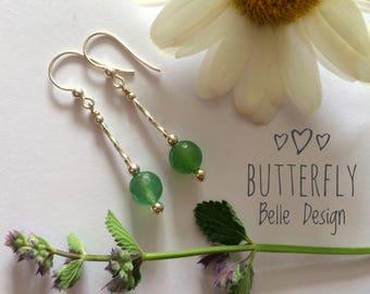 Aventurine earrings. Silver Earrings. Gemstone earrings. Green dangle earrings. Simple earrings. Gift for Her