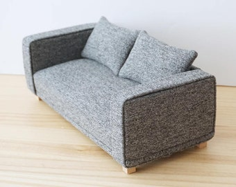 Two seater sofa scale 1:6 gray color for diorama blythe, pullip, barbie, momoko or similar