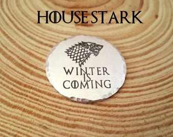Game of Thrones Engraved Charm-House Stark | Winter is Coming | Direwolf | 1.25 Inch Aluminum Round Charm