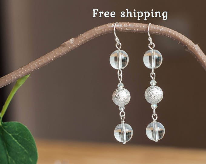 Clear quartz earrings, Clear earrings for bride, Quartz dangle earrings, Quartz earrings, Rock crystal earrings, Bridal earrings