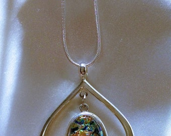 Hanging teardrop dichroic fused glass necklace