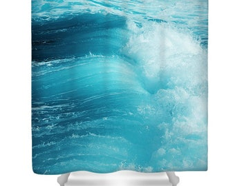 Ocean shower curtain, blue shower curtain, blue bathroom decor, tropical shower curtain, nautical, fresh, water, sea, wave, surf, bath mat