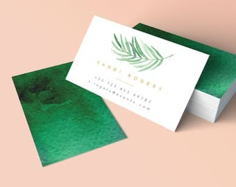 Tropical Business Card, Palm Leaf Business Card, Watercolor Printable Business Card, Handmade Business Card, Trending design 2017
