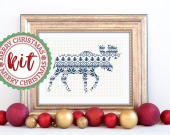 Moose Cross Stitch Kit Gift Xmas Embroidery Kit Holiday Design Nordic Christmas Style Scandinavian Kit Decorative Christmas Kit Embroidery