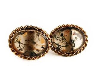 Vintage 10k Gold Filled Forstner Moss Agate Men's Cufflinks ~ Art Deco 1930s