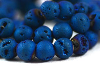 Druzy Agate Geode Quartz Stone Matte Midnight Blue Bead Round 6mm