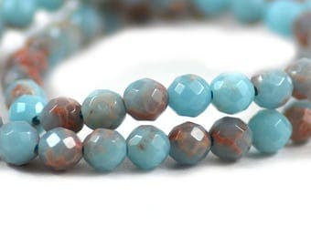Powder Blue Impression Jasper Composite Stone Upcycled Faceted Round Bead 6mm
