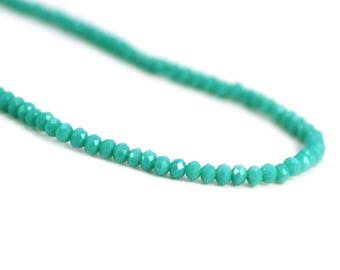 Chinese Crystal Tiny Rondelles Beads Opaque Medium Turquoise Blue Green 2x3mm