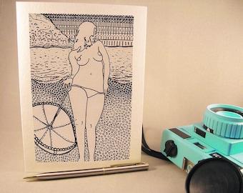 """Sunset Beach"" Nude Greeting Card"