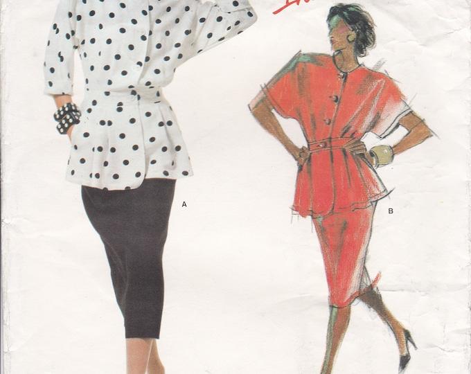 FREE US SHIP Vogue Sewing Pattern 1710 Vintage Retro 1980s Designer Tamotsu Suit Jacket Skirt  Uncut Individualist Size 12 Bust 34