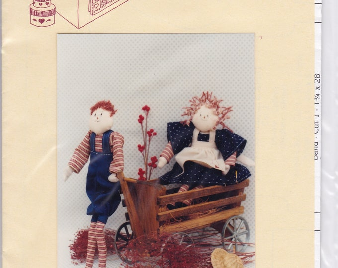 "FREE US SHIP Craft Sewing Pattern Twice as Nice Designs Raggedy Primitive  Folk Art Annie Andrew 11.5"" 128 Uncut 1990"