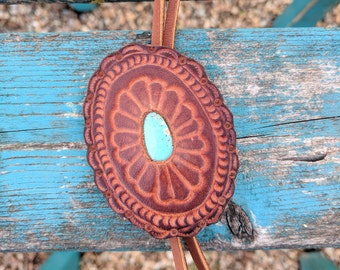 Hand Tooled Leather Concho Bolo Necklace With Campitos Turquoise, Western, Southwestern, Boho Leather Necklace