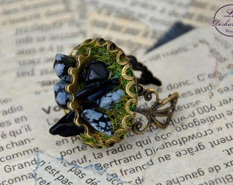 """Géologhia"" Steampunk Adjustable ring: Snowflake Obsidian"