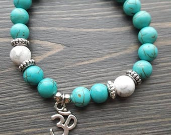 Turquoise and white elastic strech bracelet , yoga, howlite , stackable, semi-precious stones, ohm