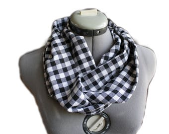 Black and White Checkered Infinity Scarf- Black and White Scarf