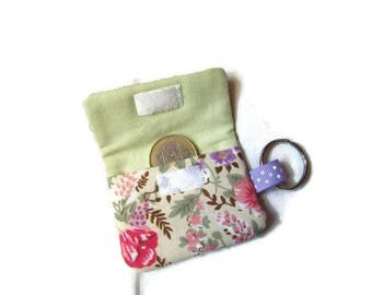 Pocket token Caddy / keychains fabric liberty purple and multicolored flowers and pale green plain fabric
