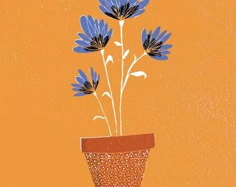 Blue Flowers on Orange Background