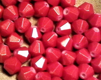 Red and gold glass beads;  beautiful opaque red glass, gold dusted bicone beads, 8x8mm, 12pcs/2.40.