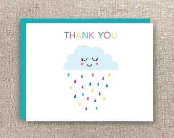 Baby Shower Thank You Card - Baby Thank You Card - Rain Shower Thank You Card - Baby Shower Rain Cloud Thank You Card