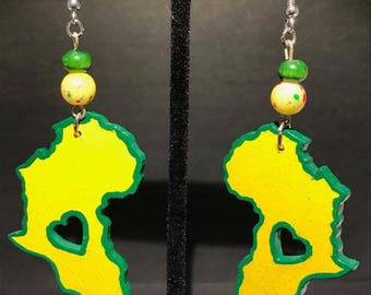 Yellow and Green Africa Earrings