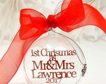 Our First Christmas as Mr and Mrs Personalised Baubles Xmas Tree Decorations WH