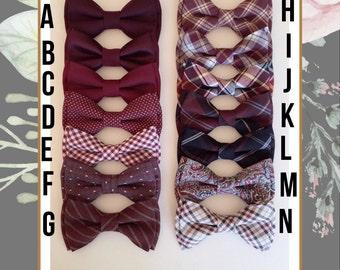 Burgundy bowtie - Wine bow tie- burgundy dot bow tie- wedding bowtie - Grooms bowtie - Groomsmen bowtie -Ring bearer's bowtie