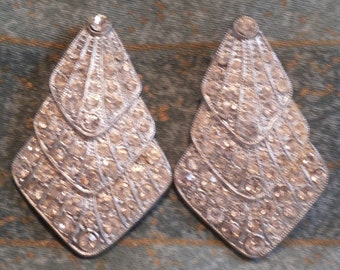 FREEPOST! Fabulous VINTAGE PAIR diamante paste Christmas tree dress clips