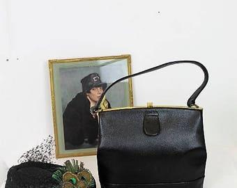 Vintage Black Leather Handbag/1960's Leather Handbag/Quality Leather Handbag/ (Ref1903Y)