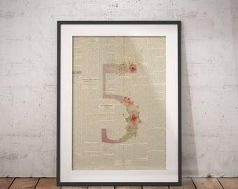 Nursery Number Five | Five Poster, Five Number Art, Number Wall Art, Nursery Age, Five Year Old, Five Years Old, Floral Number, Number Print
