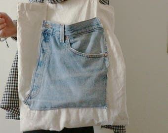 Canvas Tote Bag With Jean Pocket