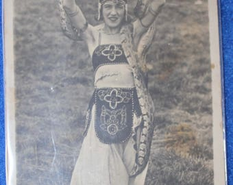 Antique PHPC, B & W of Snake Dancer, Early 1900s, Belly Dancer