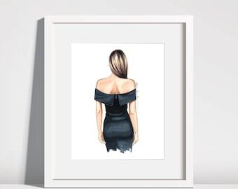 Fashion illustration - Black off shoulder dress