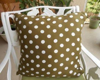 "Brown and White Polka Dot Pillows, Qty-2, Size 19x19"", 25.00 each"