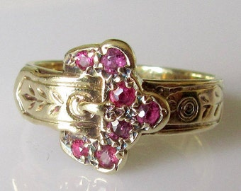 Vintage Gold and Ruby Buckle Ring