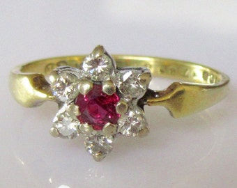 18ct Gold Ruby and Diamond Flower Cluster Ring