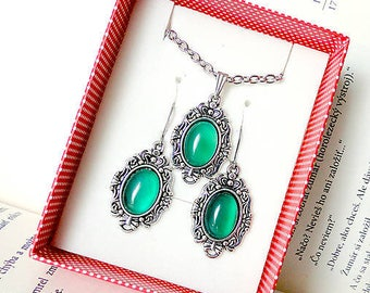 Antique Silver Green Agate Set - Stainless Steel