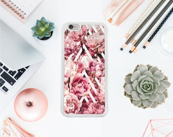 Floral Iphone 7 case geometric Iphone 8 hard case femine iphone 7 protective case peonies iphone 8 case gift for her Valentines day OT93